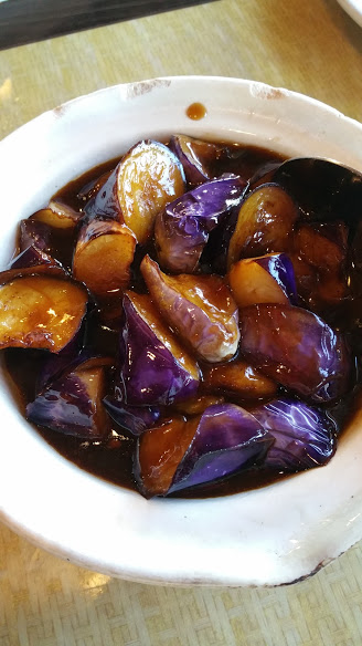 Egg Plant in Spicy Brown Sauce