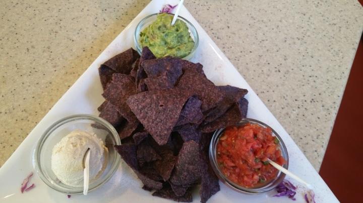 Guac, Hummus and Salsa w Blue Corn chips
