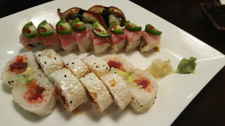 Mermaid Roll, Jalapeno and Yellow Tail, Eel holding up the back