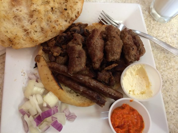 Mixed Grill of chevapi, sudzuka, and veal strips.
