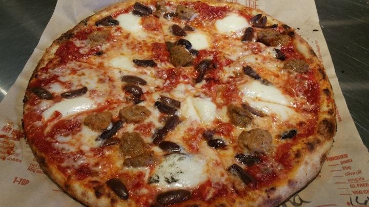 My Pie fresh mozzerella, Italian sausage, kalamati olives