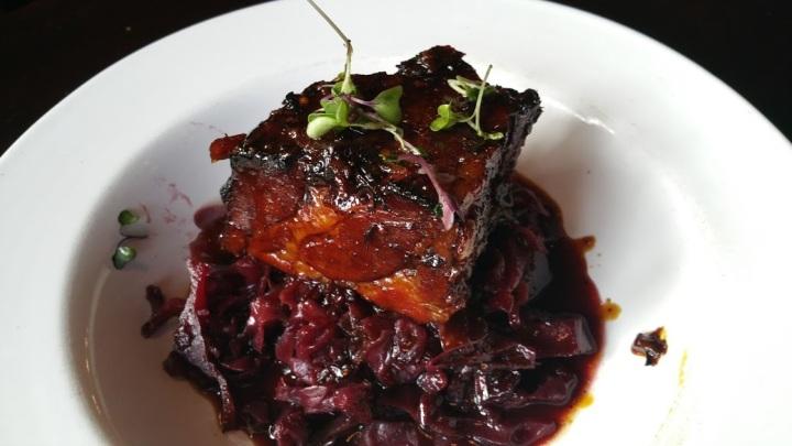 Pork red cabbage gingersnap gravy