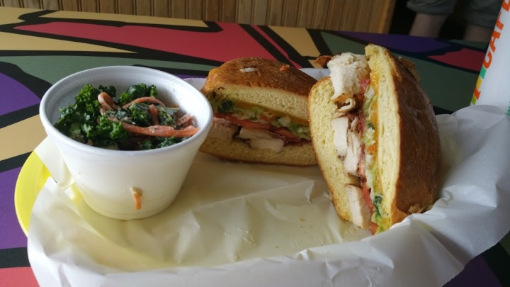 chicken club with apple kale salad