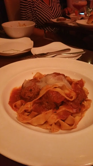 fettucini Medure's meatballs caramelized onions shaved Asiago cheese