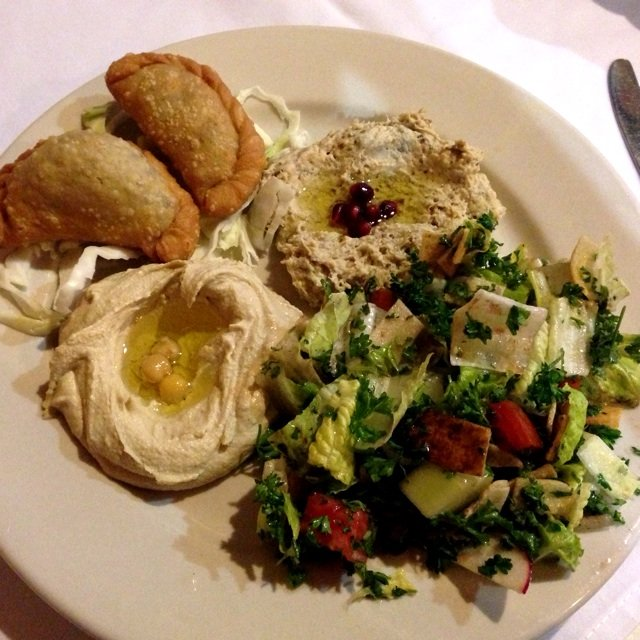 Appetizer Combo (choose 4) with hummus, sambousek, babaa ghanoush, and fattoush