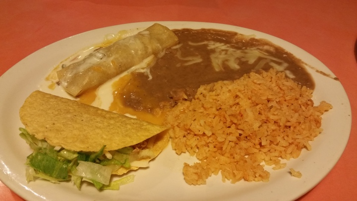 combo enchalada, chicken taco rice, beans