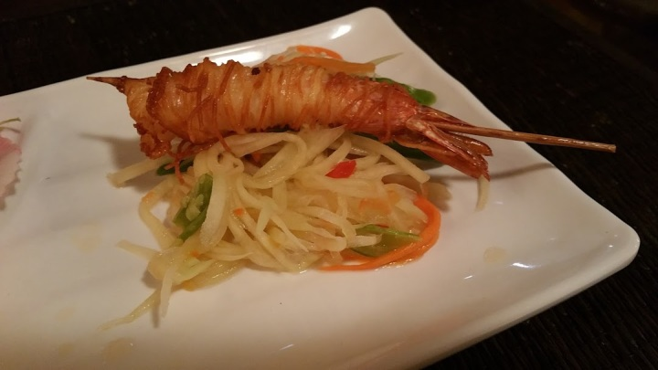 Shrimp in a blanket with Mango salad